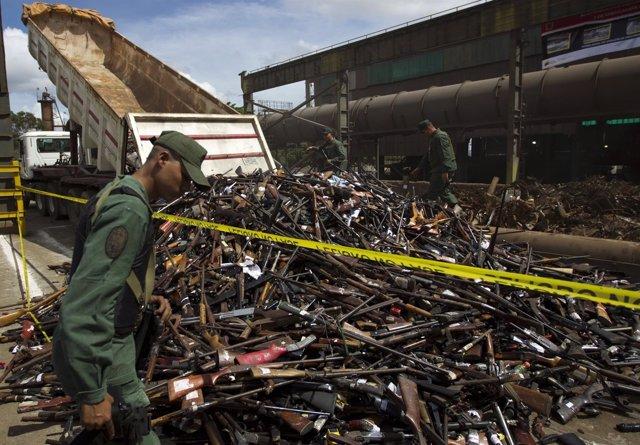 Armas requisadas en Venezuela.