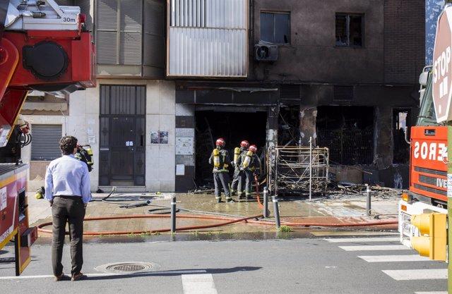 Incendio de un bazar chino en Huelva