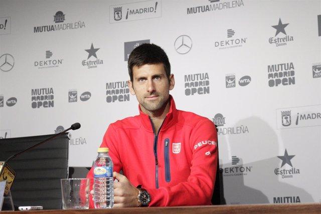 Novak Djokovic en rueda de prensa del Mutua Madrid Open