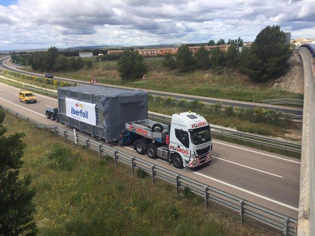 Traslado del horno de Iberfoil desde Zaragoza a Sabiñánigo