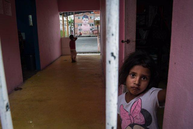 Niños migrantes en Tenosique (México)