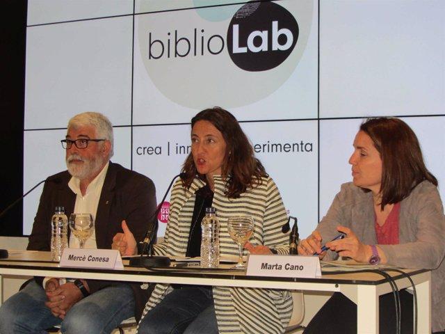 Mercè Conesa (en el centro), Martí Pujol y Marta Cano