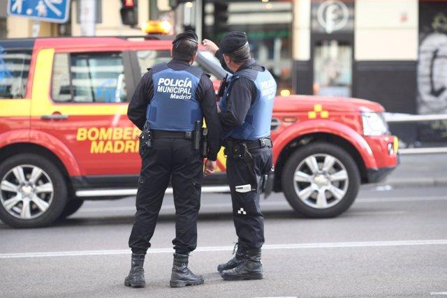 Policía Municipal y bomberos de Madrid