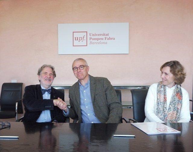 El musicólogo Jorge de Persia y el rector de la UPF Jaume Casals