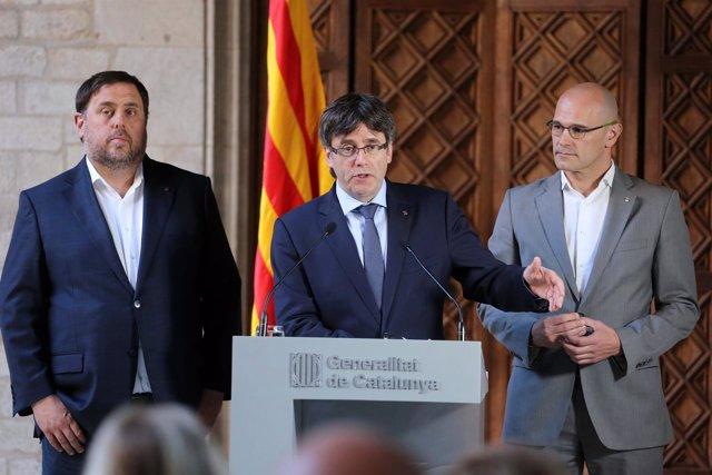 O.Junqueras, C.Puigdemont y R.Romeva valoran la sentencia del 9N