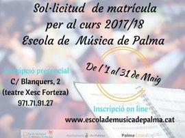 El plazo para solicitar plaza en la Escuela Municipal de Música de Palma está abierto hasta el 31 de mayo