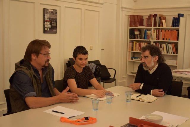 Reunión entre J.Cuixart (Òmnium) y X.Domènech (Un País en Comú)