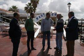 El Ayuntamiento de Cartaya valora los daños del vendaval y traslada su colaboración al Club Naútico Río Piedras