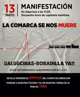 Cartel de la manifestación por la Algeciras-Bobadilla