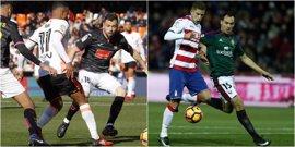 Espanyol y Valencia buscan ascender puestos y Osasuna y Granada, no acabar colistas
