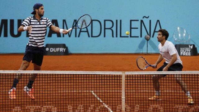 Feliciano López y Marc López en el dobles del Mutua Madrid Open