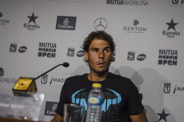 Rafael Nadal en la rueda de prensa del Mutua Madrid Open 2016