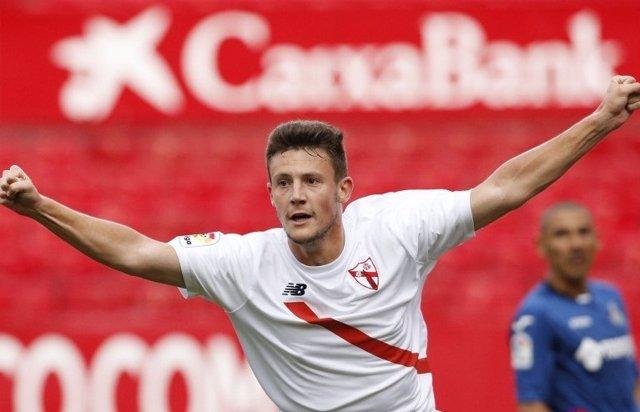 El Sevilla Atlético celebra su triunfo ante el Getafe