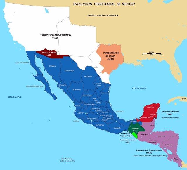 Mapa territorial de México antes y después de la guerra contra Estados Unidos