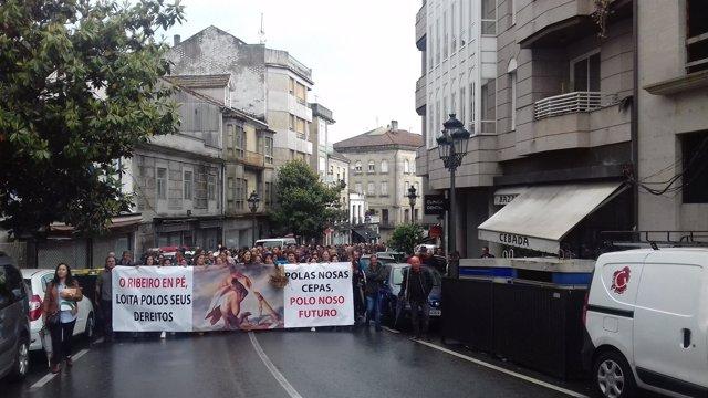Manifestación del sector vitivinícola de O Ribeiro en Ribadavia.