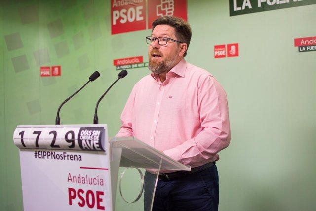 Rueda de prensa del diputado del PSOE-A Rodrigo Sánchez Haro