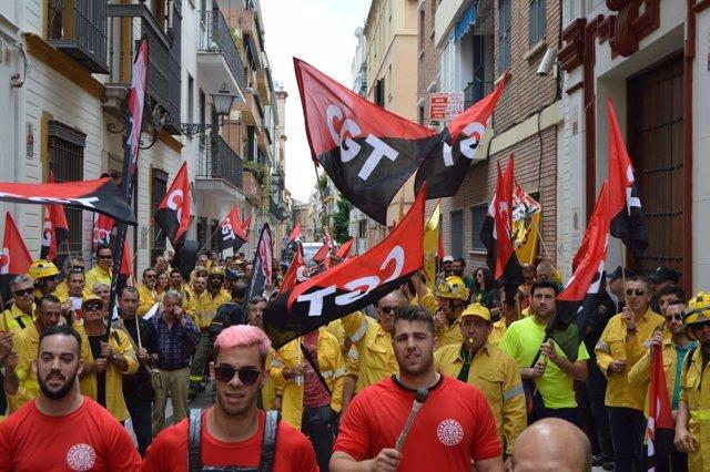 Manifestación de trabajadores de Amaya