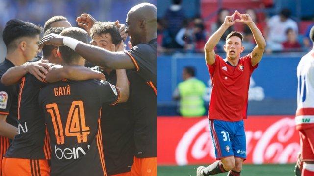 Valencia y Osasuna ganan en la penaúltima jornada