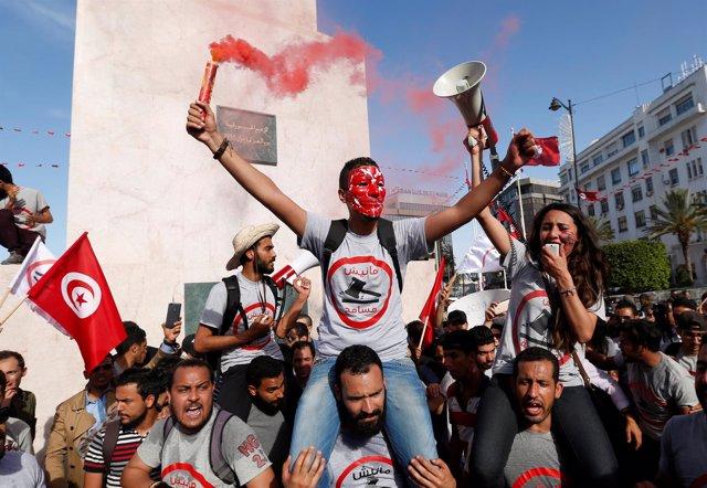 Manifestación contra la corrupción en Túnez