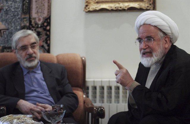 Los opositores iraníes Mirhossein Mousavi y Mehdi Karoubi