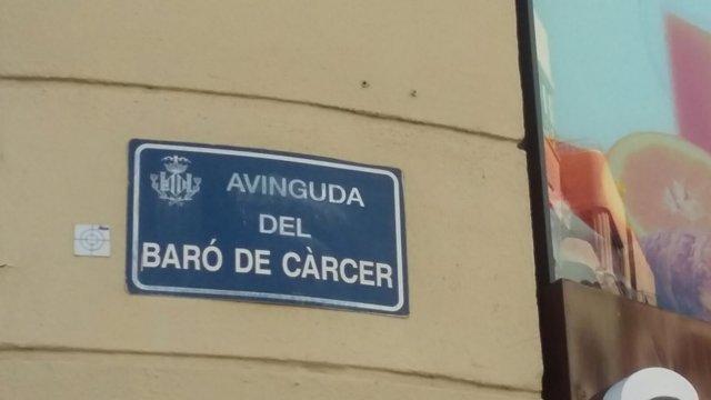 Avenida dle Barón de Càrcer, una de las que se sustituirá