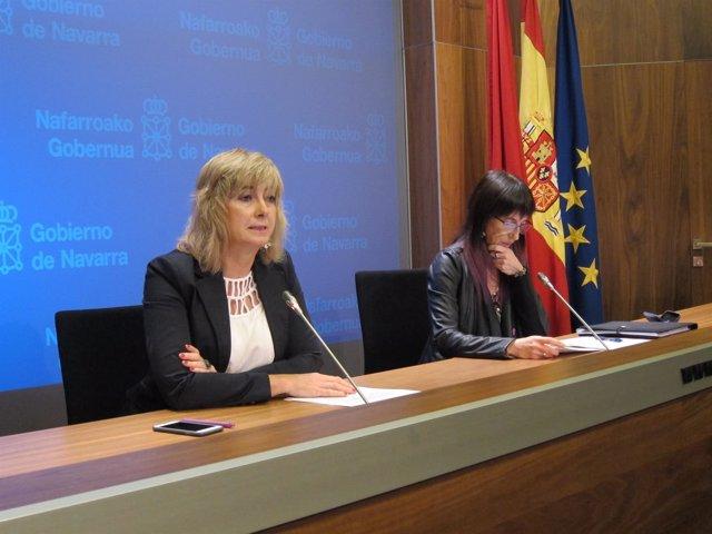 Ana Ollo y Mertxe Leránoz en la rueda de prensa