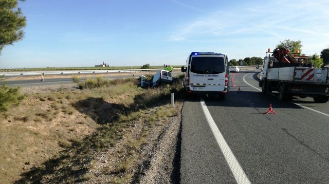 Accidente en la AP-15 en Castejón.