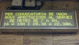 Sindicatos sitúan el seguimiento de la huelga del Metro por encima del 90%
