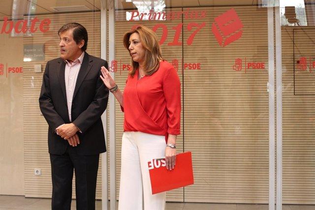 Susana Díaz y Pedro Sánchez antes del inicio del debate del PSOE