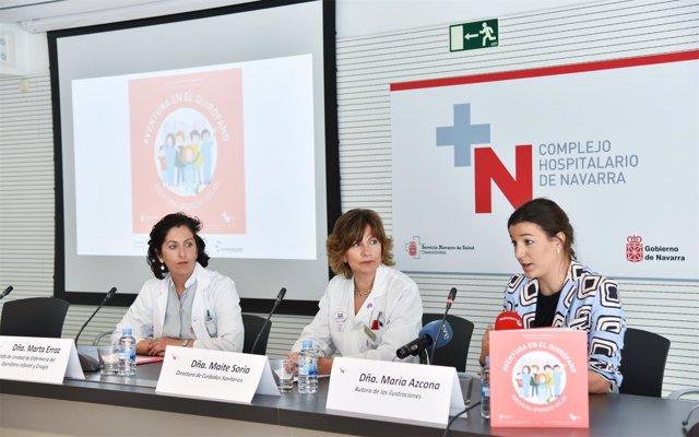 Marta Erroz, Maite Soria, y la ilustradora del cuento, María Azcona
