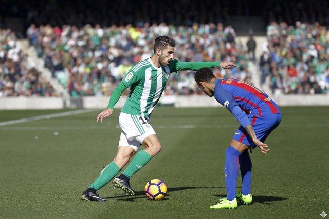 Cristiano Piccini y Neymar en el Betis - Barcelona