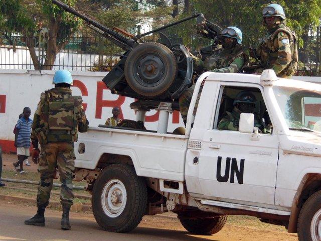 Soldados de la MINUSCA en Bangui