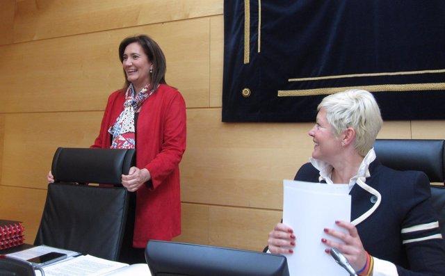 La consejera de Cultura y Turismo (izda), en la Comisión de Hacienda