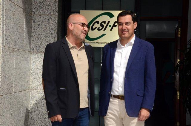 Juanma Moreno, hoy con el presidente de CSIF-A, José Luis Heredia