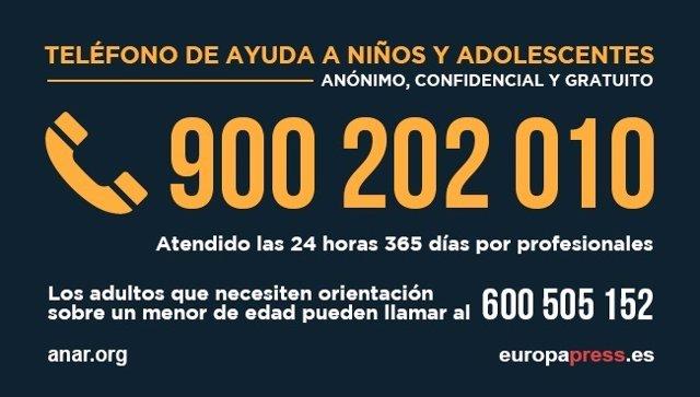 Teléfono de ayuda a niños y adolescentes de la Fundación ANAR