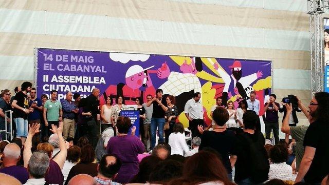 La candidatura Obrint Podem en la asamblea del 14 de mayo