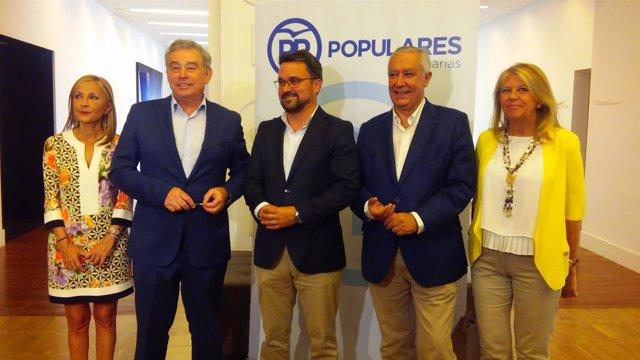José Manuel Barreiro, Asier Antona y Javier Arenas