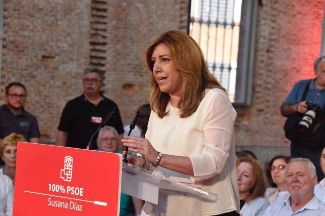 Susana Díaz, en un acto con militantes en Madrid