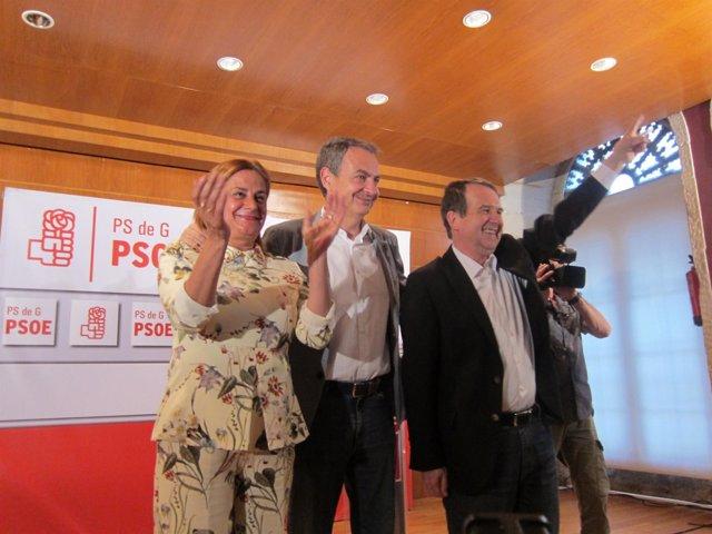 Zapatero en Vigo con Caballero y Carmela Silva