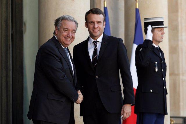 Emmanuel Macron y António Guterres