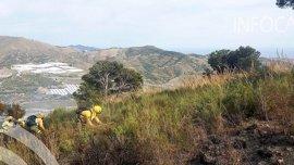 Doce hectáreas de matorral y pinar afectadas por el incendio de Salobreña, ya controlado