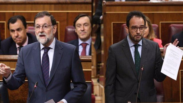 Rajoy y Antonio Hernando en la sesión de control al Gobierno en el Congreso