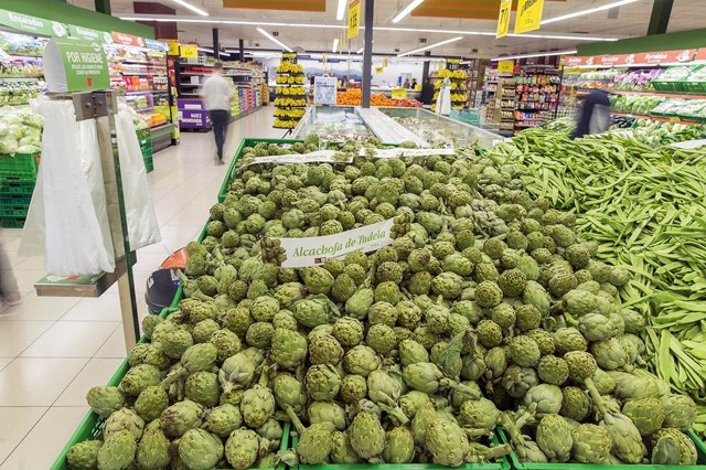 Alcachofa de Tudela en un supermercado de Mercadona.