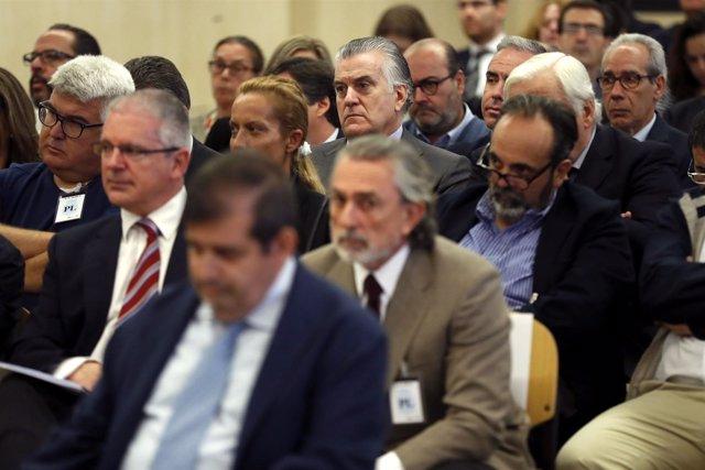 Luis Bárcenas junto a Francisco Correa y Pablo Crespo en el juicio por Gürtel