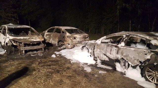 Estado de los VTC tras el incendio.
