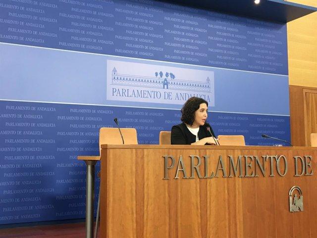 La diputada del PSOE-A Noelia Ruiz en rueda de prensa