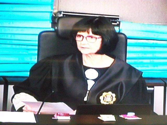 La magistrada Montserrat Comas en el juicio del caso Palau