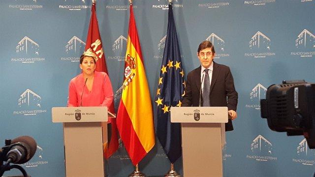 Noelia Arroyo y Manuel Villegas, en la rueda de prensa