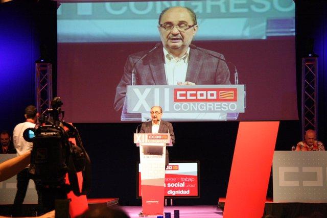 El presidente de Aragón, Javier Lambán, en la inauguración del Congreso de CC.OO
