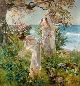 Obra de Sorolla inédita, 'Muchachas griegas en la orilla'